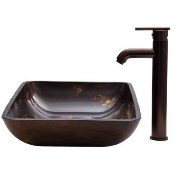 Vigo Rectangular Brown and Gold Fusion Glass Vessel and Faucet Set VGT276- by Vigo Industries