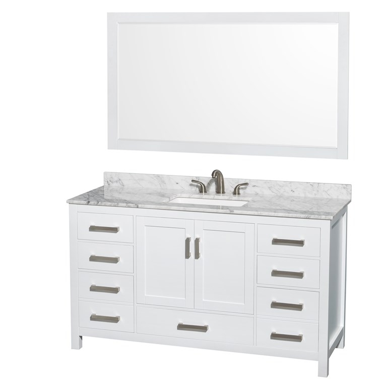 "Sheffield 60"" Single Bathroom Vanity by Wyndham Collection, Square Sink (3 Hole) - White WC-1414-60-SGL-VAN-WHT-3H"