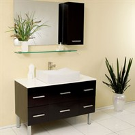 Fresca Distante Espresso Modern Bathroom Vanity with Mirror & Side Cabinet FVN6123ES