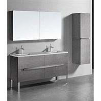 "Madeli Soho 60"" Double Bathroom Vanity for Quartzstone Top - Ash Grey B400-60D-001-AG-QUARTZ"