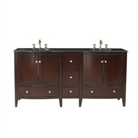 "Stufurhome 72"" Corona Double Sink Vanity with Black Galaxy Granite Top GM-6124-72-BG"