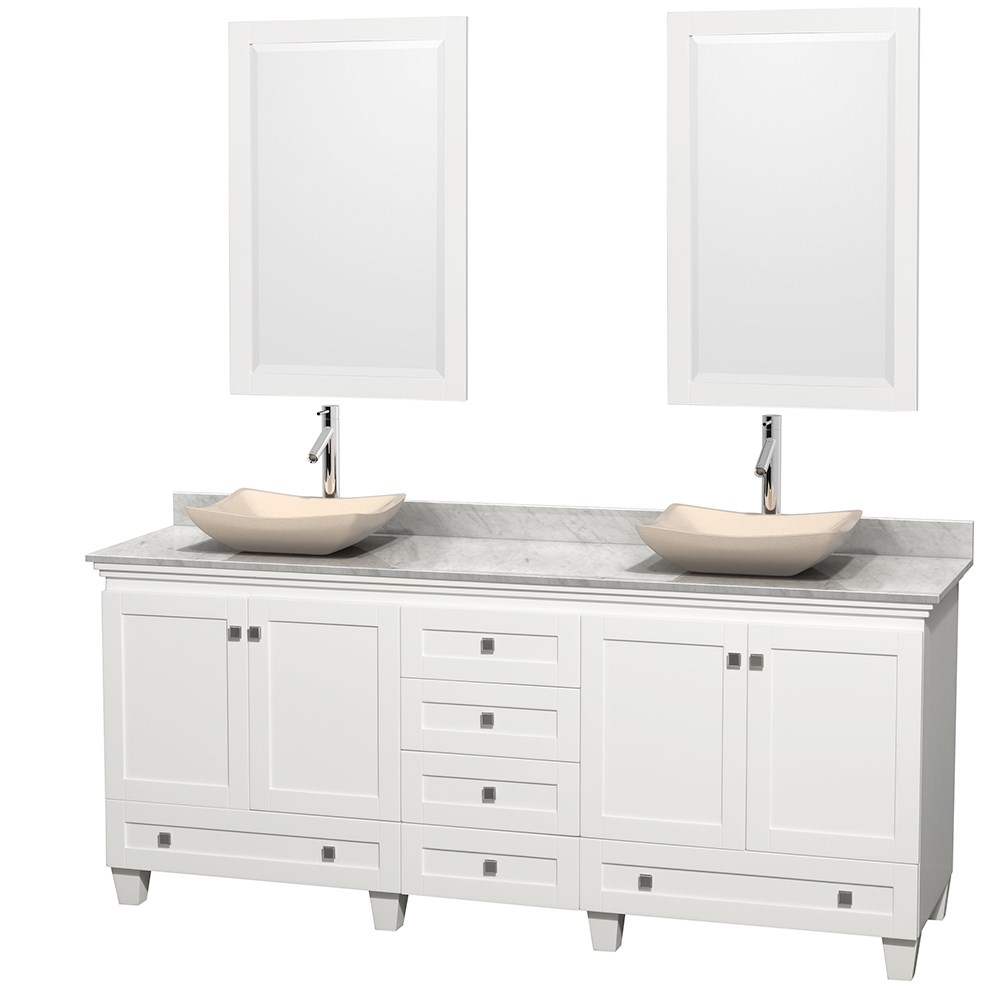 "Acclaim 80"" Double Bathroom Vanity for Vessel Sinks by Wyndham Collection - Whitenohtin Sale $1499.00 SKU: WC-CG8000-80-DBL-VAN-WHT :"
