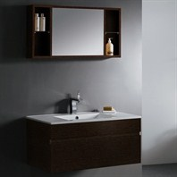 Vigo 35-inch Single Bathroom Vanity with Mirror and Shelves - Wenge VG09008104K