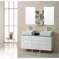 "Virtu USA Maybell 56"" Double Sink Bathroom Vanity - White UM-3063-G-WH"