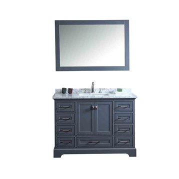 "Stufurhome Newport Grey 48"" Single Sink Bathroom Vanity with Mirror, Grey HD-7130G-48-CR by Stufurhome"