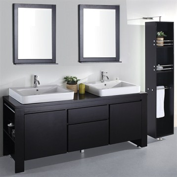Allessa 72 Modern Bathroom Double Vanity Set Espresso Free Shipping