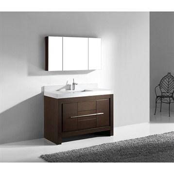 """Madeli Vicenza 48"""" Bathroom Vanity with Quartzstone Top, Walnut B999-48C-001-WA-QUARTZ by Madeli"""