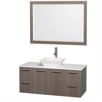 """Amare 48"""" Wall-Mounted Bathroom Vanity Set with Vessel Sink by Wyndham Collection, Gray Oak WC-R4100-48-GRO- by Wyndham Collection®"""