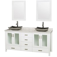 "Lucy 72"" Double Bathroom Vanity Set with Vessel Sinkss by Wyndham Collection - White WC-MS015-72-WHT-OVER-"