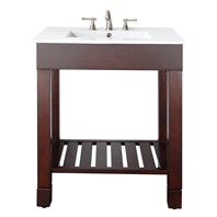 "Loft 31"" Single Modern Bathroom Vanity Set - Dark Walnut"