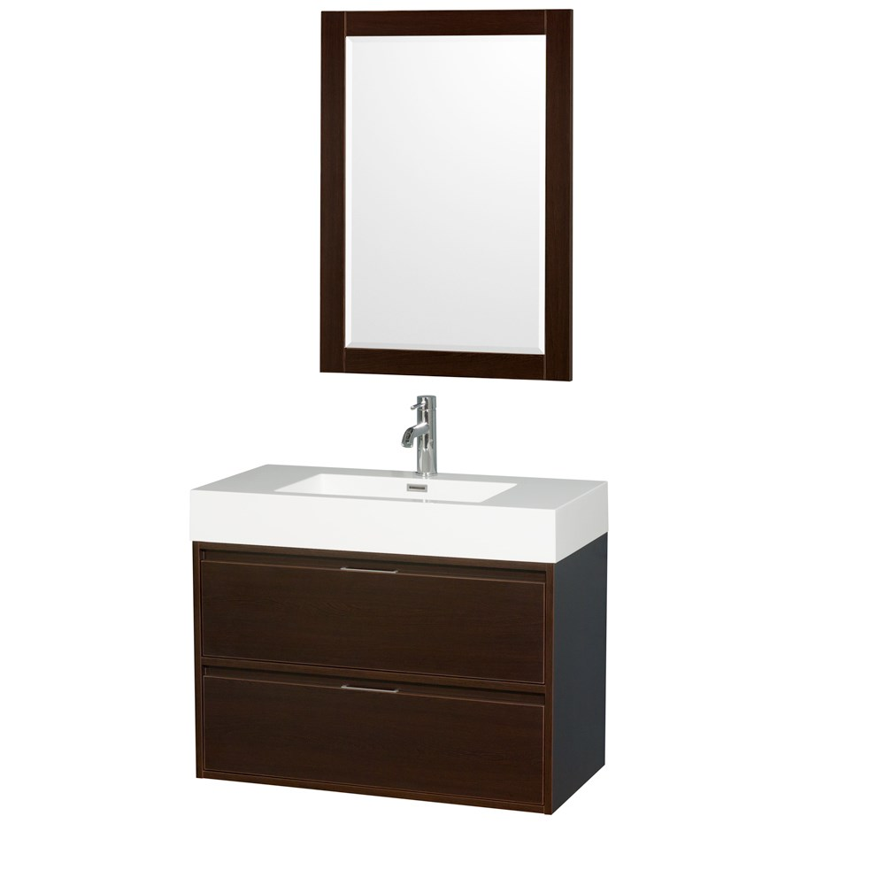 "Daniella 36"" Wall-Mounted Bathroom Vanity Set With Acrylic Resin Countertop, Integrated Sink and 24"" Mirror - Espresso WCR460036SESARINTM24"