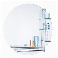 "ZHJ36 Bathroom Mirror with Glass Shelves (32"" x 32"")"
