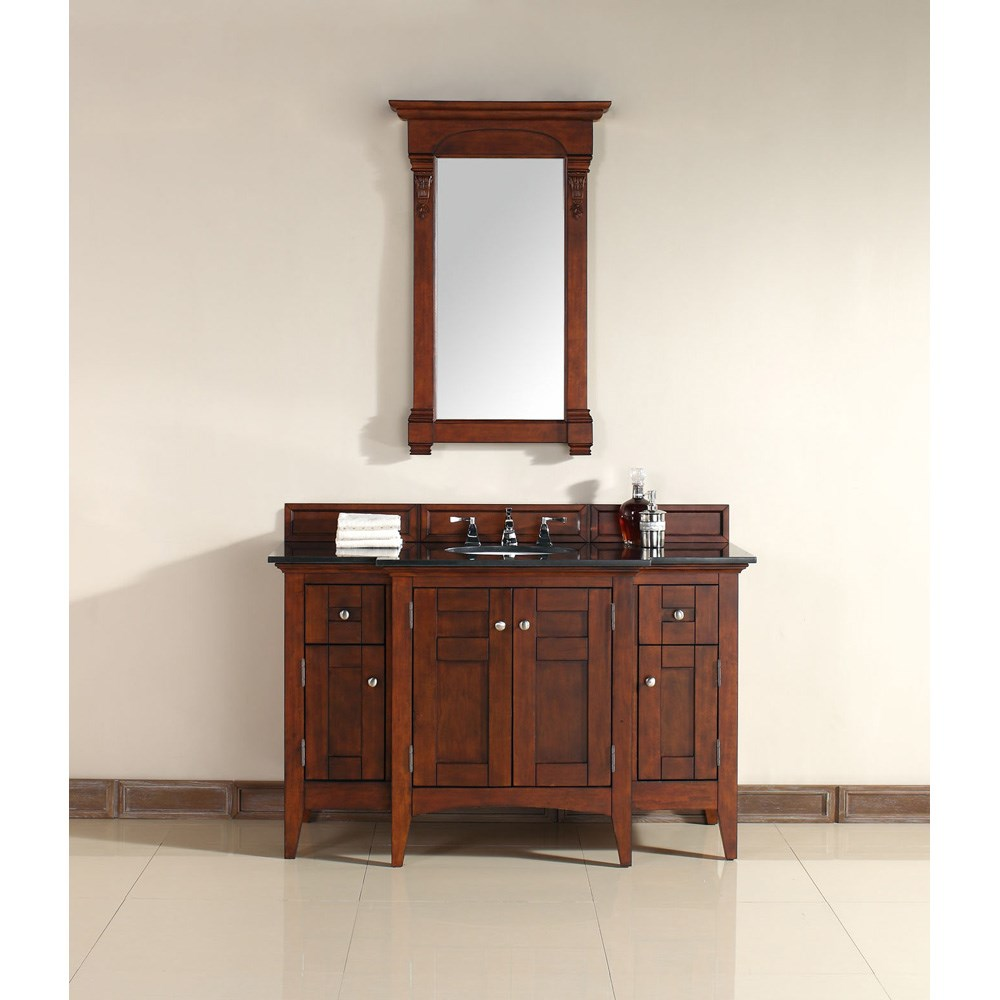 "James Martin 53"" North Hampton Single Vanity with Absolute Black Top - Warm Cherrynohtin Sale $1390.00 SKU: 900-V53-WCH-ABK :"