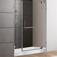 "VIGO 48-inch Frameless Shower Door 3/8"" Clear Glass Brushed Nickel Hardware with White Base VG6042BNCL48WS"