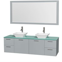 "Amare 72"" Wall-Mounted Double Bathroom Vanity Set with Vessel Sinks by Wyndham Collection - Dove Gray WC-R4100-72-DVG-DBL"