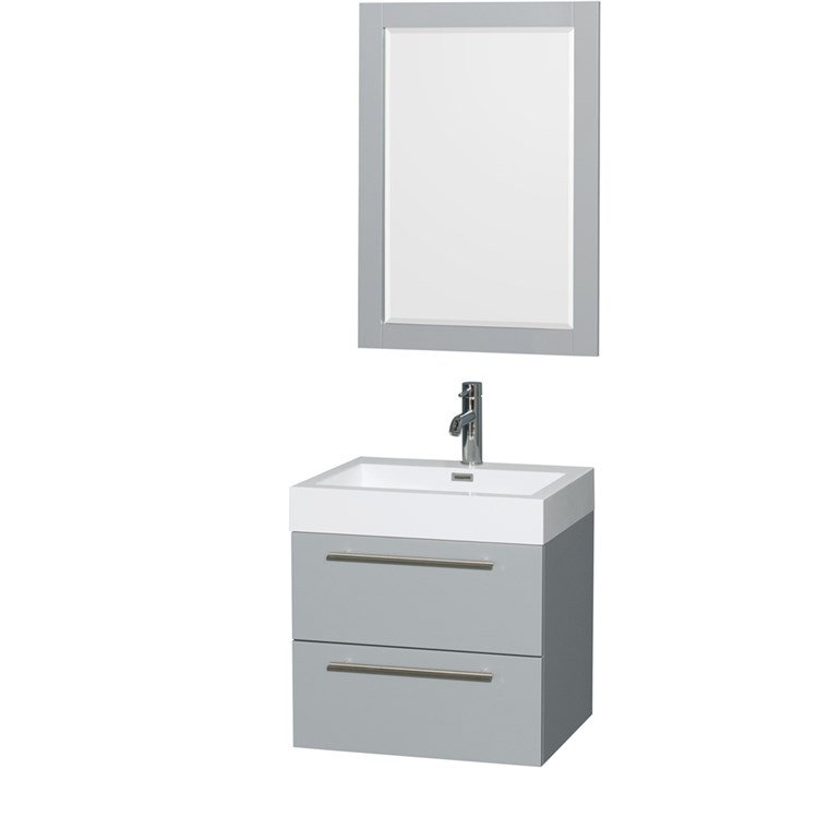 "Amare 24"" Wall-Mounted Bathroom Vanity Set with Integrated Sink by Wyndham Collection - Dove Gray WC-R4100-24-VAN-DVG-"