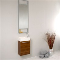Fresca Pulito Small Teak Modern Bathroom Vanity with Tall Mirror FVN8002TK