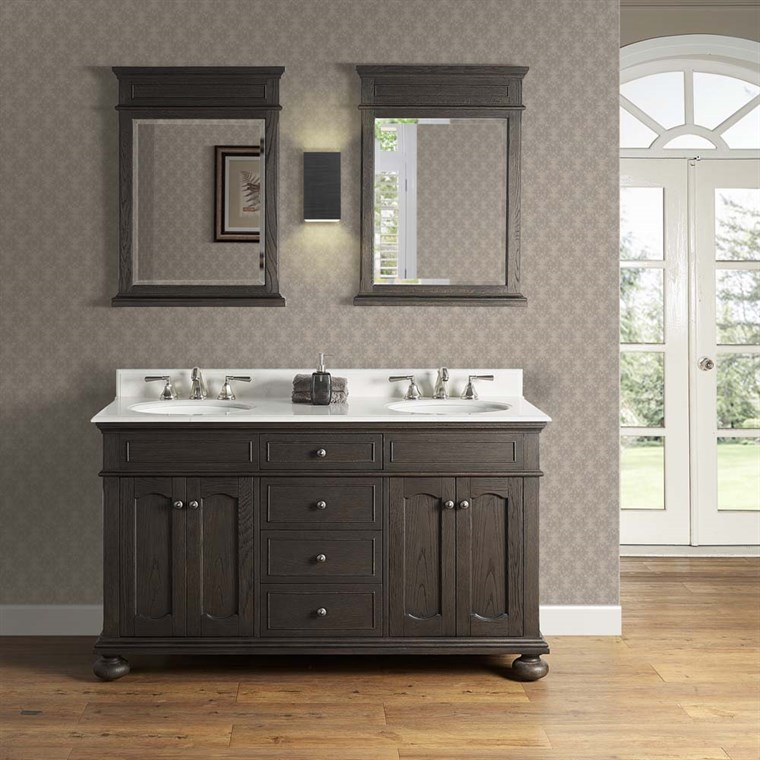 "Fairmont Designs Oakhurst 60"" Double Bowl Vanity for Undermount Oval - Burnt Chocolate 1536-V6021D_"