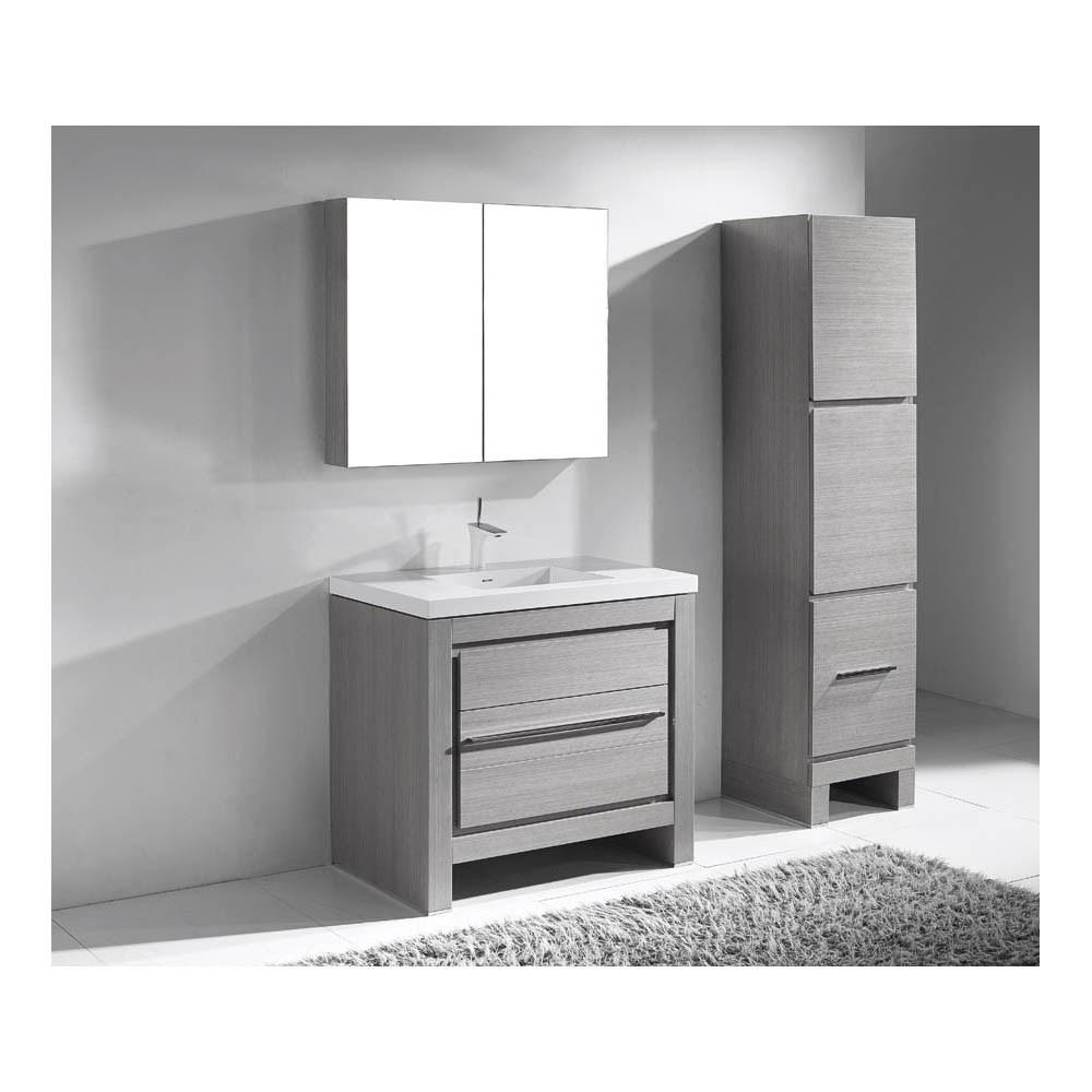 "Madeli Vicenza 36"" Bathroom Vanity For X-Stone - Ash Greynohtin"
