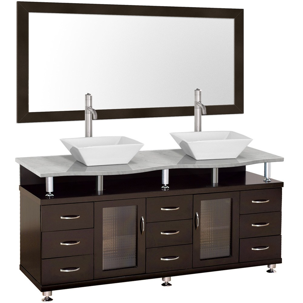 Accara 72 inch Double Bathroom Vanity with Mirror Espresso w White Carrara Marble Counter