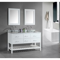 "Design Element London 61"" Double Vanity with Open Bottom, White Carrera Countertop, Sinks and Mirrors - Pearl White DEC077C-W"