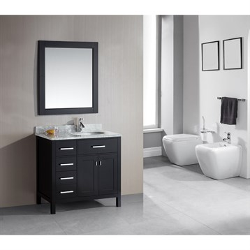 """Design Element London 36"""" Single Vanity with Drawers on the Left, White Carrera Countertop, Sink and Mirror,... by Design Element"""