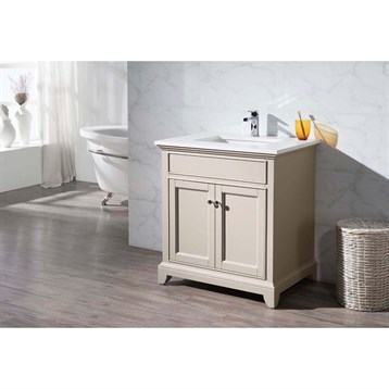 "Stufurhome Erin 31"" Single Sink Bathroom Vanity with White Quartz Top, Beige HD-6004-31-QZ by Stufurhome"