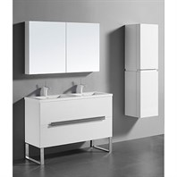 "Madeli Soho 48"" Double Bathroom Vanity for Integrated Basins - Glossy White B400-48D-001-GW"