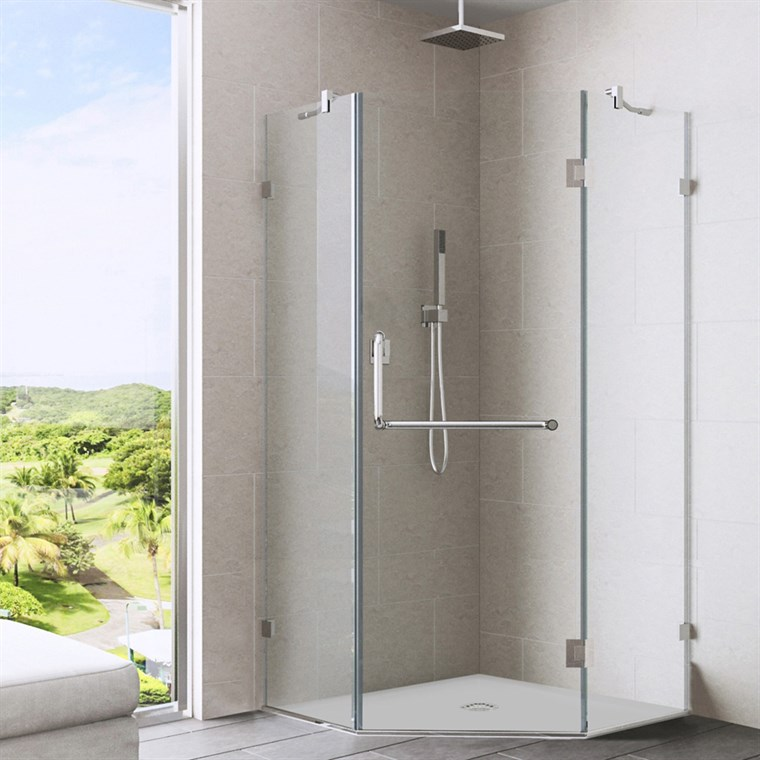 "Vigo Industries Frameless Neo-Angle Shower Enclosure - 38"" x 38"", Clear VG6062CL-38-38"