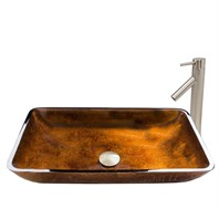 VIGO Rectangular Russet Glass Vessel Sink and Dior Faucet Set VGT491-