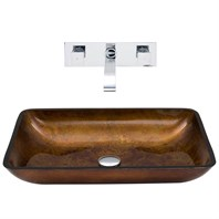VIGO Rectangular Russet Glass Vessel Sink and Wall Mount Faucet Set VGT305-