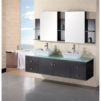 "Design Element Portland 72"" Wall Mount Bathroom Vanity Set - Espresso DEC071B"