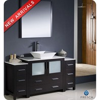 "Fresca Torino 60"" Espresso Modern Bathroom Vanity with 2 Side Cabinets, Vessel Sink, and Mirror FVN62-123612ES-VSL"
