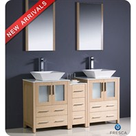 "Fresca Torino 60"" Light Oak Modern Double Sink Bathroom Vanity with Side Cabinet, Vessel Sinks, and Mirrors FVN62-241224LO-VSL"
