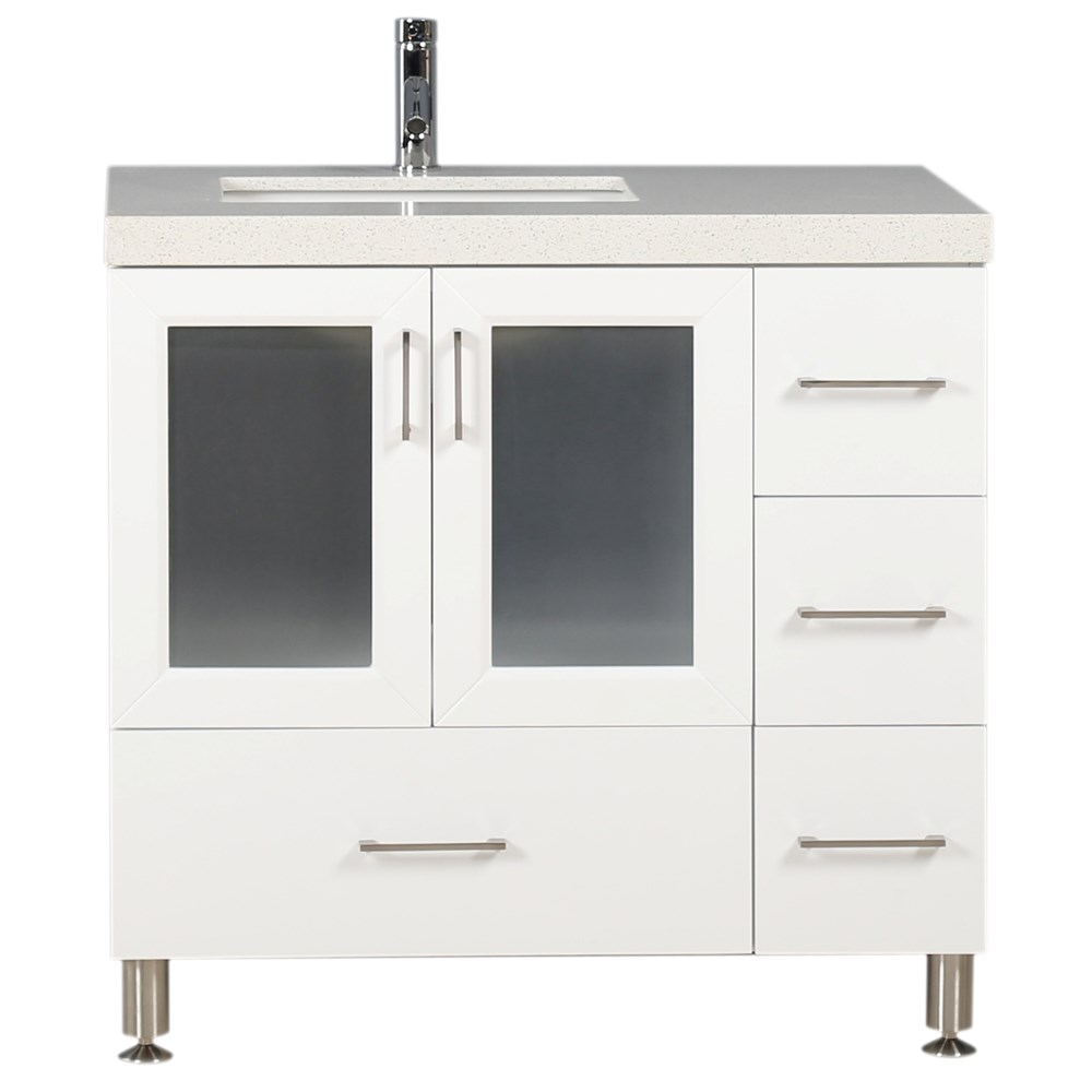 """This 36"""" Westfield Collection single-sink vanity in white is solidly constructed of hardwood. The contemporary design beauty of the white cabinetry and quartz countertop bring a modern vantage to any bathroom setting for original design or upgrade. Seated at the base of the single porcelain sink is the chrome finish pop-up drains, designed for easy one-touch draining. This beautiful vanity has ample storage, which includes soft-closing double-door cabinets and four pullout drawers. Knobs and handles are all elegantly accented with fine brushed satin nickel. Mirror is not included.Features Solid Hardwood Cabinet ConstructionMulti-Layer DURA-Lacquer Semi-Gloss White FinishWhite Quartz CountertopOne Under-Mount Porcelain White SinkChrome Pop-Up DrainsFour Pullout DrawersOne Soft-Closing Double DoorsFine-Brushed Satin Nickel HardwareVanity Set Includes: Cabinet, Countertop and Sink How to handle your counterSpec Sheet"""