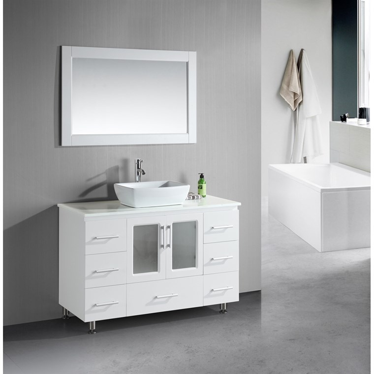 "Design Element Stanton 48"" Single Sink Vanity Set with Vessel Sink - White B48-VS-W"