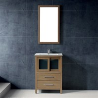 "Vigo 24"" Alessandro Single Bathroom Vanity with Mirror - White Oak VG09019105K"