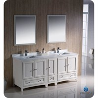 "Fresca Oxford 72"" Traditional Double Sink Bathroom Vanity with Side Cabinet - Antique White FVN20-301230AW"