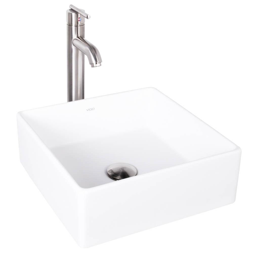 VIGO Bavaro Matte Stone Vessel Sink and Seville Bathroom Vessel Faucet in Brushed Nickelnohtin Sale $249.90 SKU: VGT1001 :