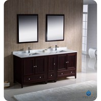 "Fresca Oxford 72"" Traditional Double Sink Bathroom Vanity with Side Cabinet - Mahogany FVN20-301230MH"
