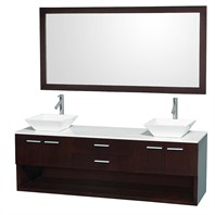 "Andrea 72"" Wall-Mounted Bathroom Vanity Set by Wyndham Collection - Espresso WC-CG1001-72-ESP"