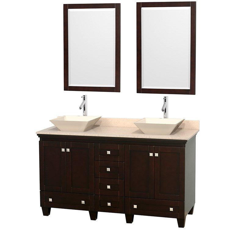 "Acclaim 60"" Double Bathroom Vanity for Vessel Sinks by Wyndham Collection - Espresso WC-CG8000-60-DBL-VAN-ESP"