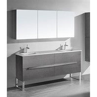"Madeli Soho 72"" Double Bathroom Vanity for Quartzstone Top - Ash Grey B400-72D-001-AG-QUARTZ"