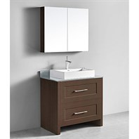 "Madeli Retro 36"" Bathroom Vanity for Glass Counter and Porcelain Basin - Walnut B700-36-001-WA-GLASS"