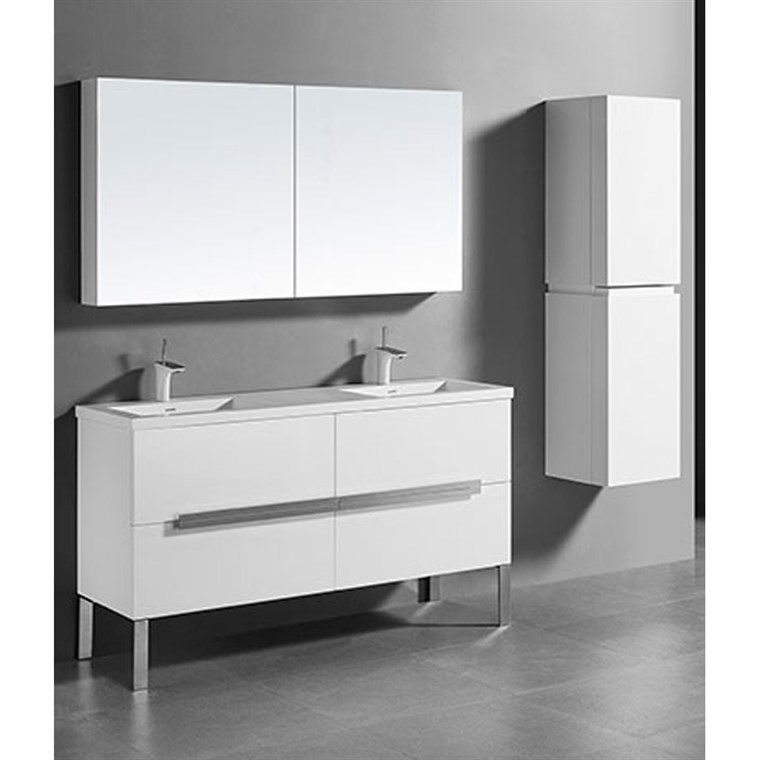 "Madeli Soho 60"" Double Bathroom Vanity for Integrated Basin - Glossy White B400-60D-001-GW"