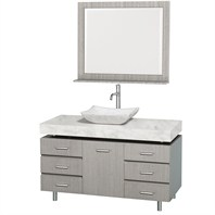 "Malibu 48"" Bathroom Vanity Set by Wyndham Collection - Gray Oak Finish with White Carrera Marble Counter and Handles WC-CG3000H-48-GROAK-WHTCAR"