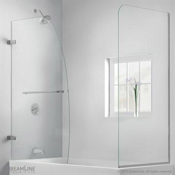 "Bath Authority DreamLine Aqua Uno Frameless Hinged Tub Door, 56"", 60"" with Return Panel SHDR-3534586-RT by Bath Authority DreamLine"