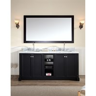 "Ariel Westwood 73"" Double Sink Vanity Set with Carrera White Marble Countertop - Black C073D-BLK"