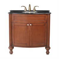 "Stufurhome 36"" Georgiana Single Sink Vanity with Black Galaxy Granite Top - Cherry GM-2218-36-BG"
