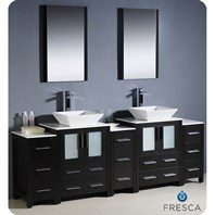 "Fresca Torino 84"" Espresso Modern Double Sink Bathroom Vanity with 3 Side Cabinets, Vessel Sinks, and Mirrors FVN62-72ES-VSL"